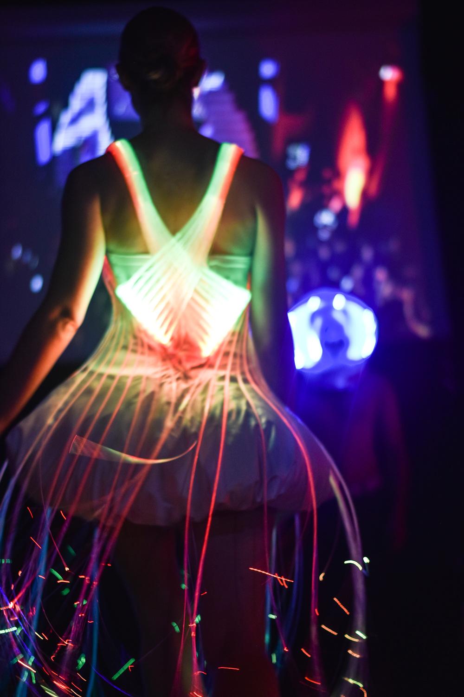 Natalie Walsh X Danielle Mann fibre-optic dress at Silicon Valley Fashion Week