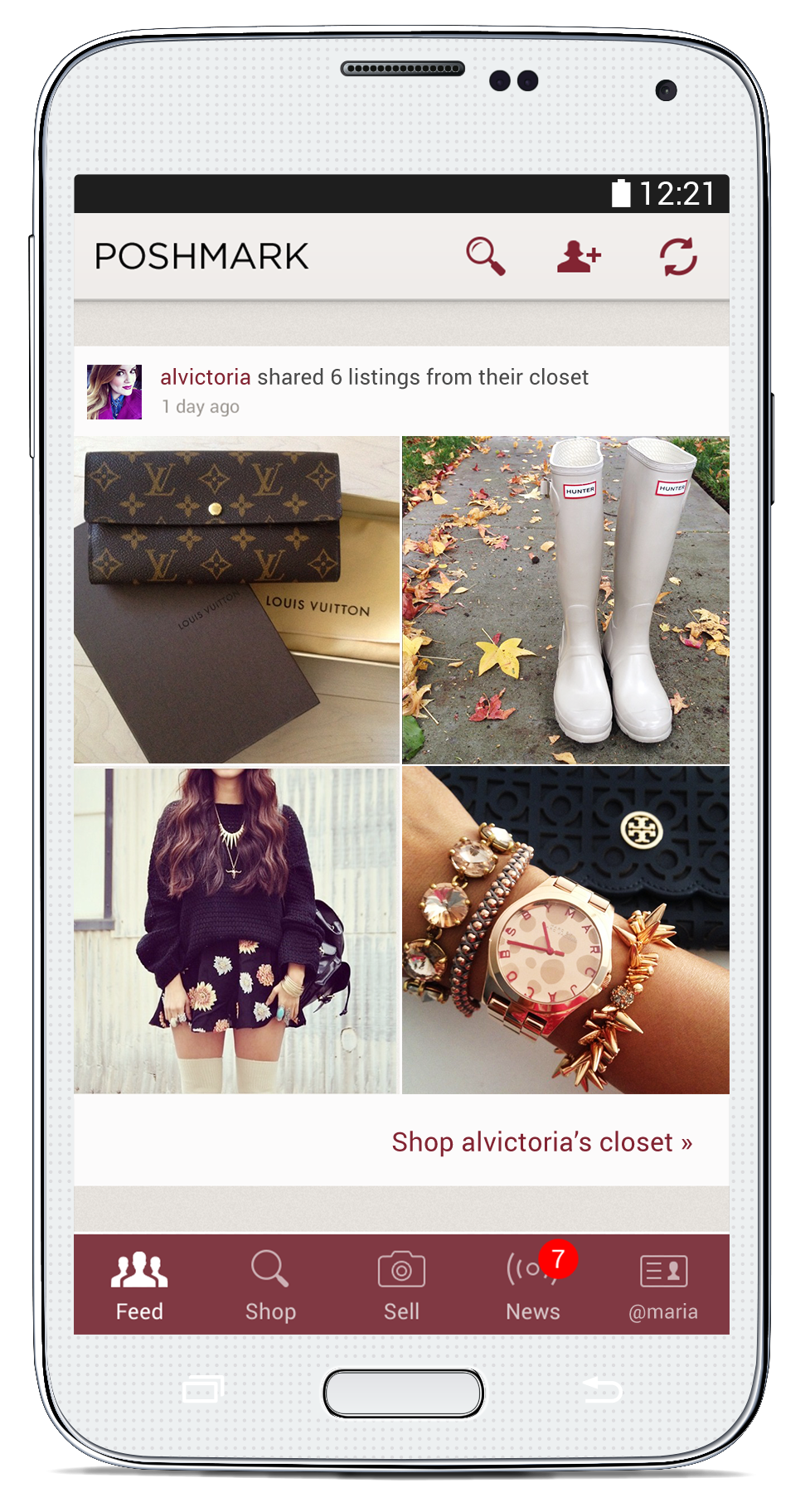 A screengrab of inside the Poshmark app. Poshmark lets you follow other user's closets and shop items for sale, but it's really the community and human connection that keep people coming back, says Tracy Sun.