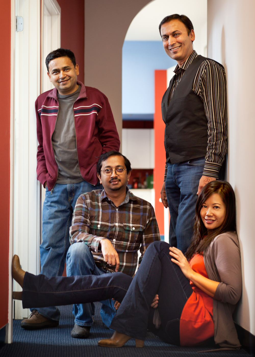 Tracy Sun with her three co-founders, from left to right Chetan Pungaliya, Gautam Golwala and Manish Chandra. Poshmark is headquartered in Silicon Valley.