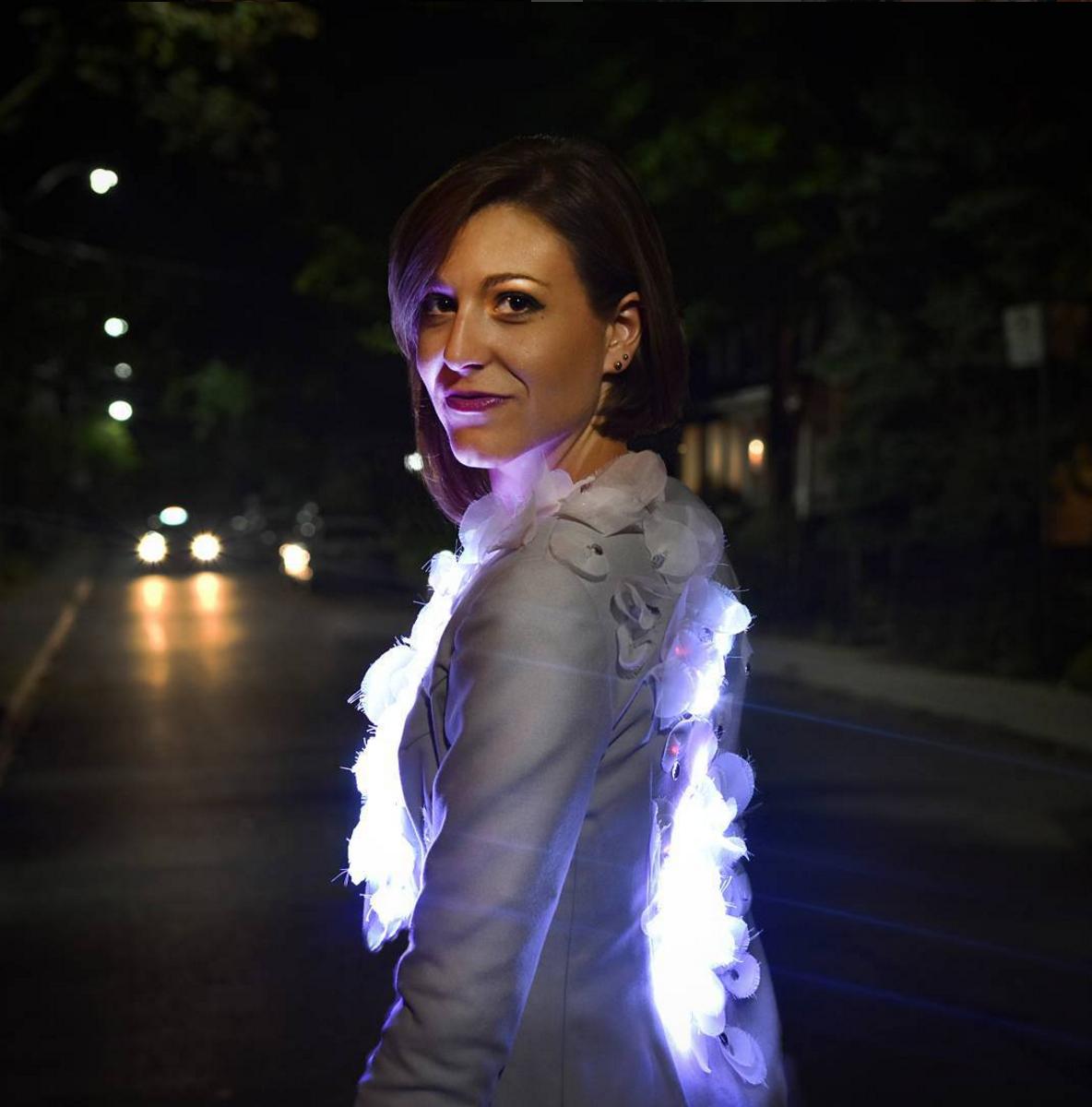 Amanda in illuminated jacket by Laura Dempsey