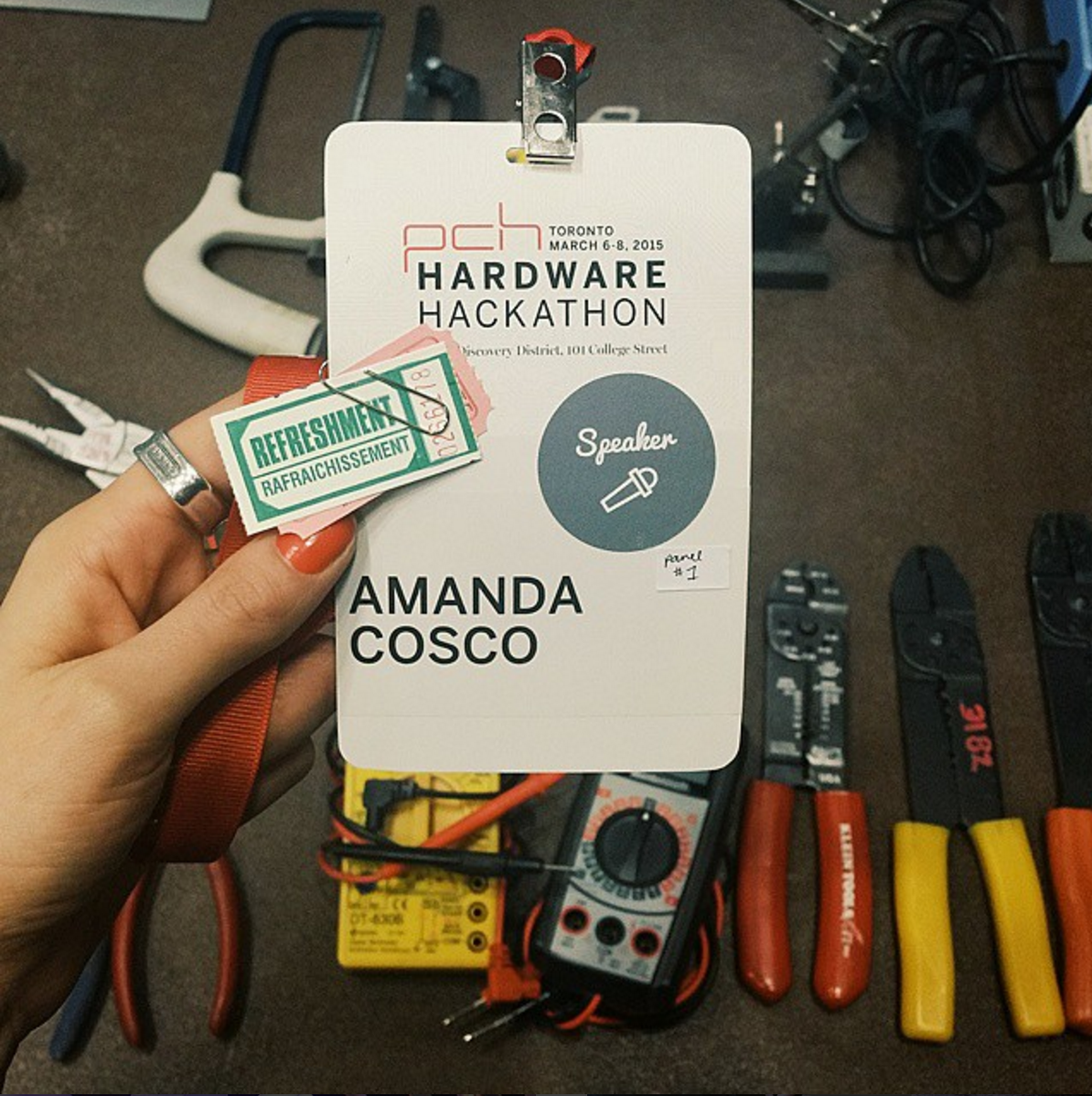 Badge at a hardware event Amanda moderated