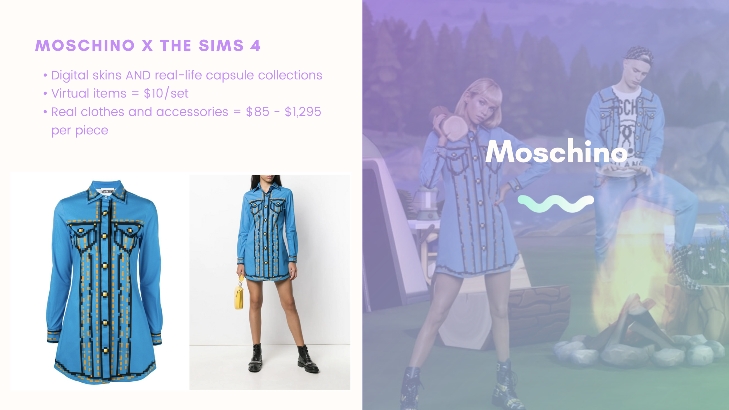 A t-shirt from Moschino's collaboration with the Sims