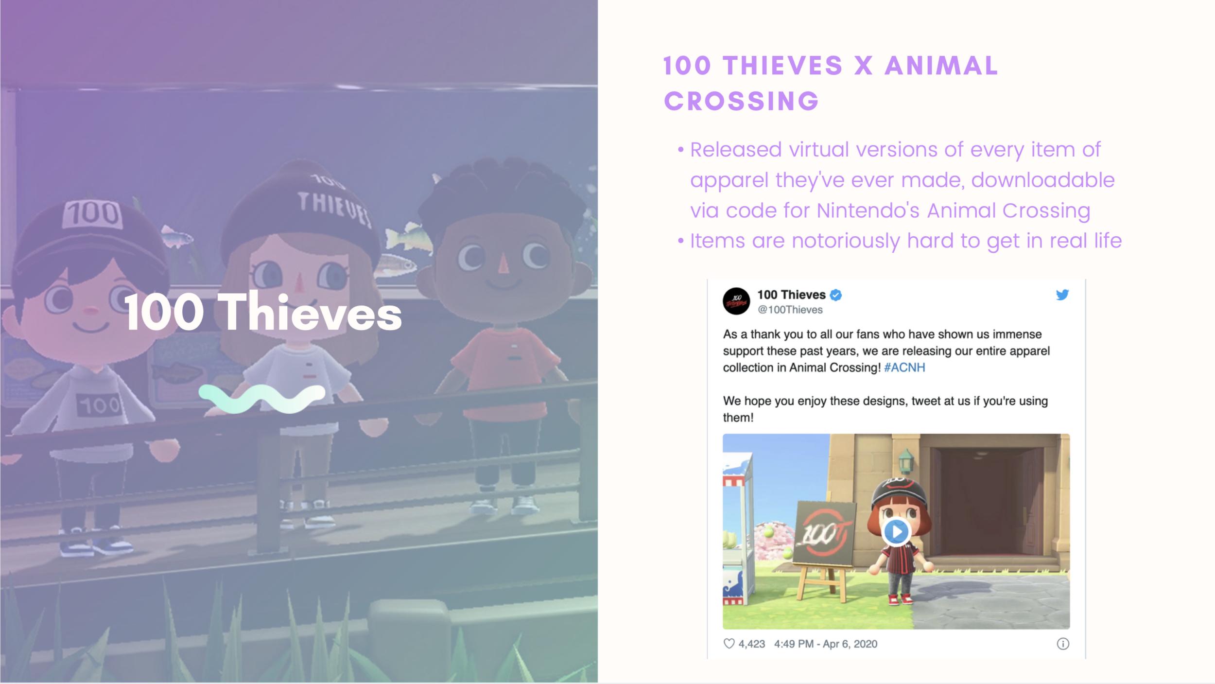 Characters in Animal Crossing wearing streetwear brand 100 Thieves