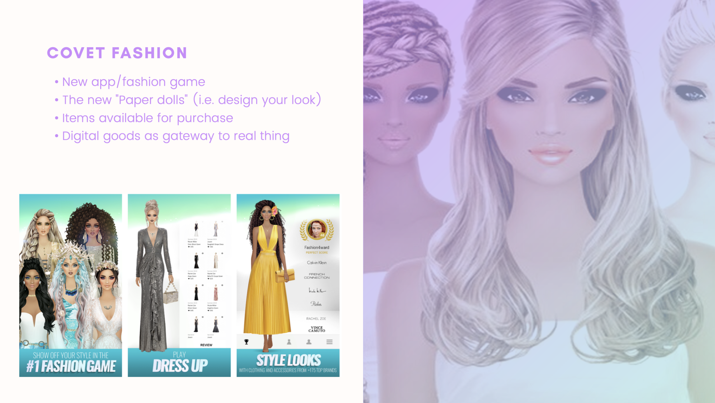 A screenshot of the styling app CovetFashion